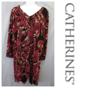 Catherines Black Pink Floral Asymmetric Tunic 3X